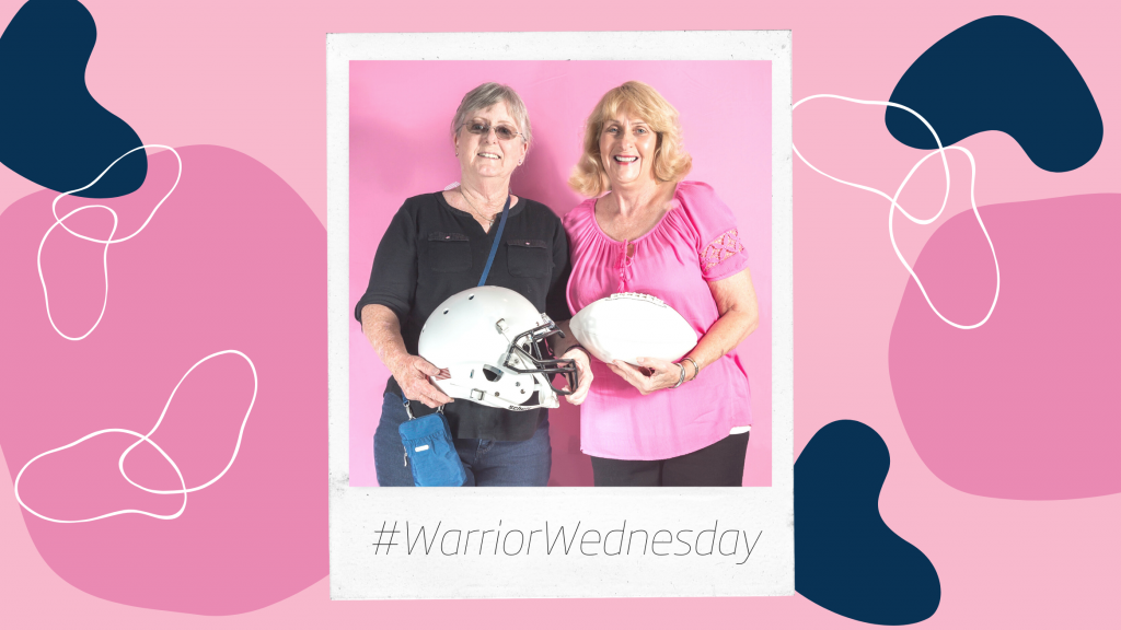 Amy (our Warrior Wednesday spotlight) stands next to her friend. Amy is holding a football helmet while her friend is holding a football. The graphic is made to look like a polaroid picture.