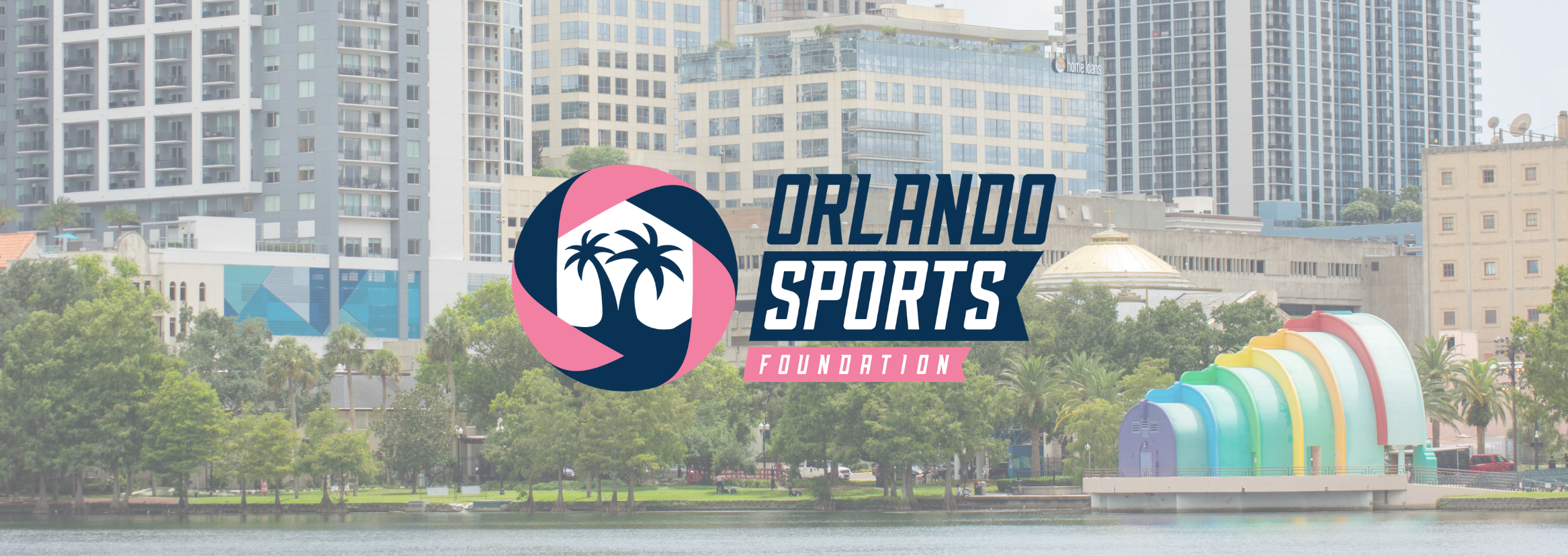 OSF Logo. The background is a photo of Lake Eola in Downtown Orlando